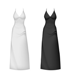 Realistic evening dress mockup black white vector
