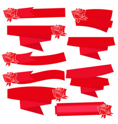 red roses with banner ribbon vector image