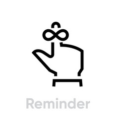 reminder on hand icon editable line vector image
