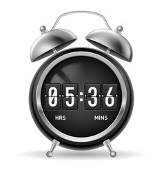 Retro round alarm clock with flip numbers instead vector
