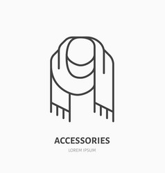 Scarf flat line icon cold weather apparel store vector