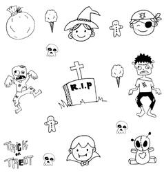 Scary zombie halloween doodle vector
