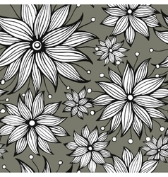 Seamless floral doodle background pattern vector