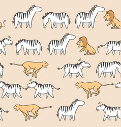Seamless pattern cute zebra tiger and lion cartoon vector
