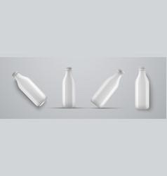 Set mockups plastic white bottles for kefir vector