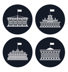 set of black icons with buildings with a flag vector image
