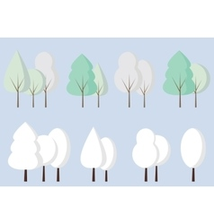 Set of flat icon winter trees vector image