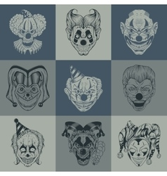 Set of nine images with painted fantastic scary vector