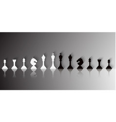 set of white and black chess pieces vector image