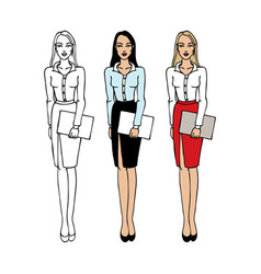 set of young women in elegant office clothes vector image