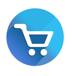 shoppind cart - long shadow icon style is a flat vector image