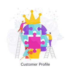 Small people create ideal customer profile vector