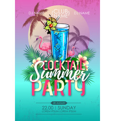 summer beach party disco poster with cocktail vector image