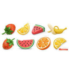 summer fruits icon set with shadows strawberries vector image