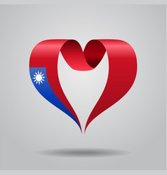 Taiwan flag heart-shaped ribbon vector