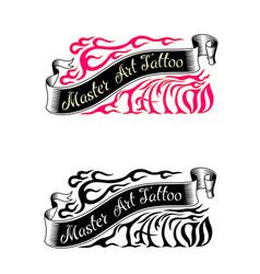Tattoo studio logo templates vector