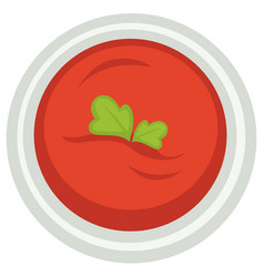 tomato soup with parsley leaf as decoration on top vector image