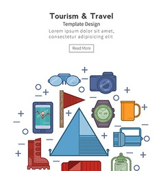 Travel flat icons in a circle vector image