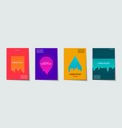Trendy template set with futuristic modern neon vector