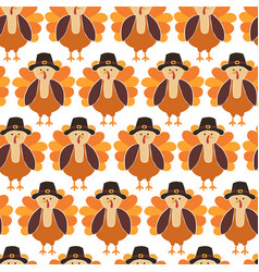 Turkey seamless pattern cute thanksgiving vector