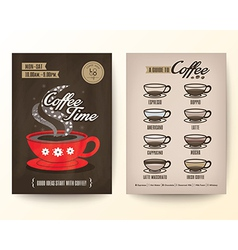 Type of coffee drinks Flyer Poster design Layout vector image