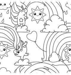 Unicorn pattern coloring page vector