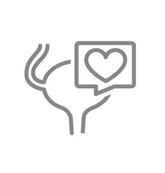 Urinary bladder with heart in speech bubble line vector