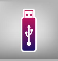 usb flash drive sign purple vector image