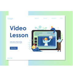 video lesson website landing page design vector image