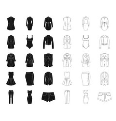 Women clothing blackoutline icons in set vector