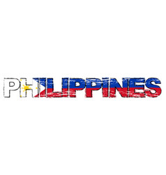 Word philippines with filipino national flag vector