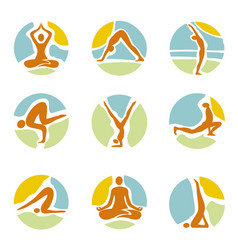 yoga icons on round colorful background vector image