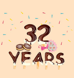 32nd years anniversary cars with flowers and cake vector image