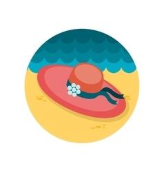Beach hat flat icon vector image vector image