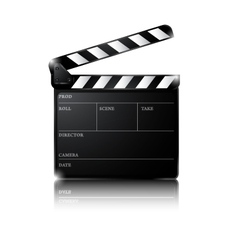 Clapper board isolated on white background vector image