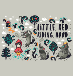 cute little girl and gray hungry wolves in the vector image