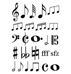Music notes icons set vector image vector image