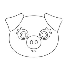 pig muzzle icon in outline style isolated on white vector image
