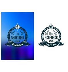 Retro seafarer tattoo or marine banner vector image vector image