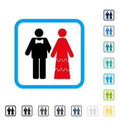 wedding persons framed icon vector image vector image