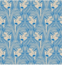 Glamour seamless pattern with beautiful girl vector image