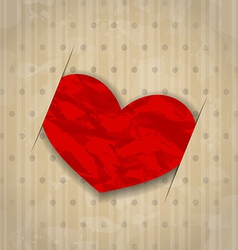 Red crumpled paper heart for Valentine Day vector image vector image