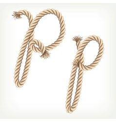 Rope alphabet Letter P vector image