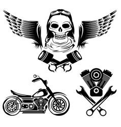 Biker Theme Label Set vector image vector image