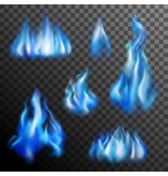 Blue fire transparent set vector