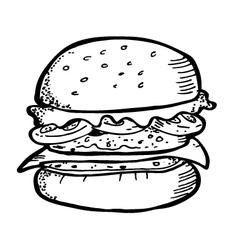 burger doodle vector image vector image
