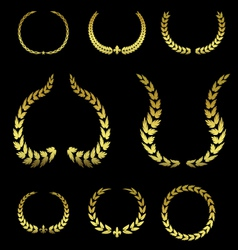 Collection of Golden Laurel Leaves vol 2 vector image