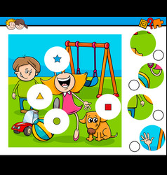 match pieces puzzle with kids on playground vector image vector image