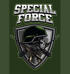 military skull wearing helmet and crossing rifles vector image vector image