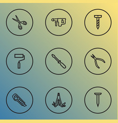 Repair icons line style set with multifunctional vector